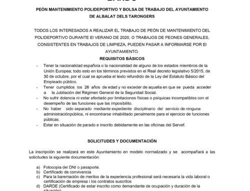 PEÓN MANTENIMIENTO POLIDEPORTIVO Y BOLSA DE TRABAJO DEL AYUNTAMIENTO DE ALBALAT DELS TARONGERS
